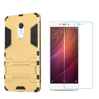 For RedMi Note 4X(2+16GB,3+16GB,3+32GB)and(4+64GB snapdragon)Armour Hard Plastic Phone Case+Anti Blue-Ray Eye Protect Tempered Glass Screen protector Film - intl