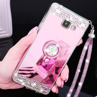 For Samsung Galaxy A7 2017 A720 Casing Fashion Phone Case Mirror Phone Cover With Ring Holder - intl