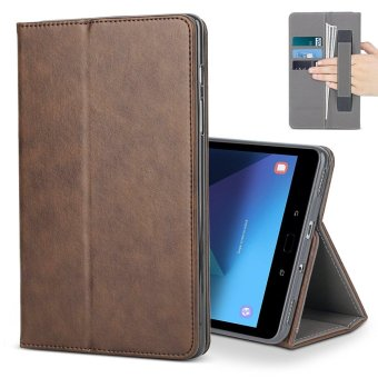 For Samsung Galaxy Tab S3 9.7 Case, Premium Leather MultipleViewing Stand Cover with Hand Strap , Auto Wake/Sleep Smart FolioFlip Card Holder for Samsung Galaxy Tab S3 SM-T820 T825, Brown -intl
