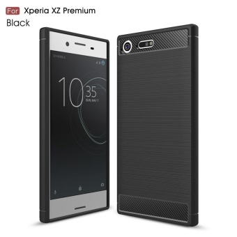 For Sony Xperia XZ Premium Carbon Fiber Brushed Texture Slim TPU Back Case (Black) - intl