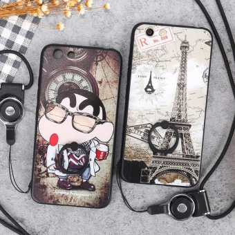 For VIVO Y53 Case Cover New Hot Sell Fashion Ultra-thin 3D StereoRelief Colorful Painting Soft Back Covers/Anti falling PhoneCover/Shockproof Phone case With Metal Ring and Phone Rope (BlackMusic) - intl - 5