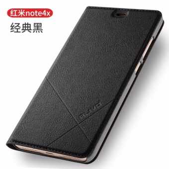 For Xiaomi Redmi Note 4X Flip Type Leather Cover Case Luxury Pu Leather Case (Black) - intl