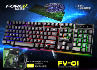 FOREV FV-Q1 Rainbow Colorful USB Gaming Keyboard with Mouse and Headset Combo Bundle with Free Razer Mouse Pad