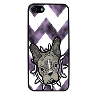 French Bulldog Chevron Pattern Phone Case for iPhone 5C (Black)