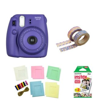 Fujifilm Instax Mini 8 Instant Camera (Grape) with Instax Film TwinPack, Photo Hangers and Washi Tapes Bundle