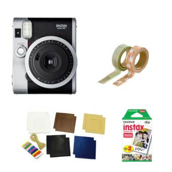 Fujifilm Instax Mini 90 Instant Camera (Black) with Instax FilmTwin Pack, Photo Hangers and Washi Tapes Bundle