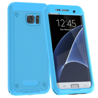 Full Body Touch ID Waterproof Shockproof Case for Samsung Galaxy S7Edge - Sky Blue