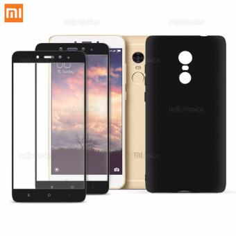 Full Cover Carbon Fiber Soft Edge Tempered Glass Set of 2 with Jelly Case (Black) for Xiaomi Redmi Note 4