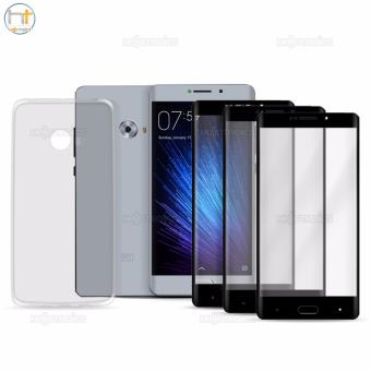 Full Cover Carbon Fiber Soft Edge Tempered Glass Set of 3 (Black) with Jelly Case (Clear) for Xiaomi Mi Note 2