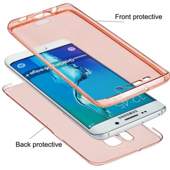 Full Coverage 360 degree Front and Back Protective Case ShockproofTPU Gel Transparent Clear Cover for Samsung Galaxy S7 Edge - intl - 3