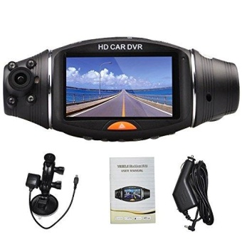 Full Hd Car LED Vehicle DVR Road Accident Camcorder 2.7 Inch Screen Dash Video Camera Recorder Traffic Dashboard Camcorder Dual Cameras Cams - 120/140 Degrees-led Ir Night Vision - intl