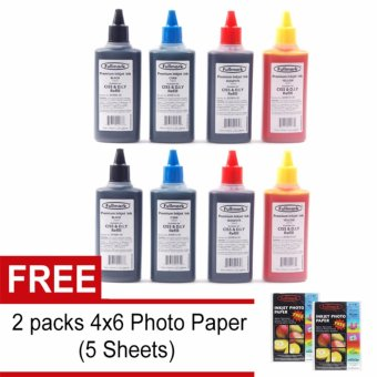 Fullmark Inkjet Dye Ink Continuous ink CISS and DIY Refill 100ml for HP / Brother / Canon / Epson Printer Pack of 4 (CMYK) 2 Sets with Free 2 Packs 5 Sheets 4x6 Photo Paper