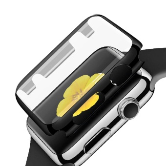 Fully Coverage Watch Screen Protector Shell PC Plating Abrasion-resistant Anti-scratch Protective Cover with Bumper for Apple Watch iWatch Series 1 38mm Black - intl