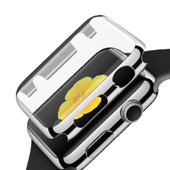 Fully Coverage Watch Screen Protector Shell PC PlatingAbrasion-resistant Anti-scratch Protective Cover with Bumper forApple Watch iWatch Series 1 38mm Silver - intl
