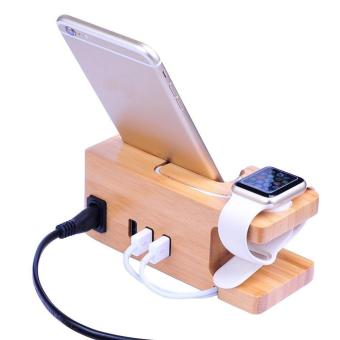 fuskm Fast USB Charging Station Apple Watch Stand with Power Adaptor, IWatch Bamboo Wood Charger Dock Holder with 3-Port USB 2.0 Hub for Apple Watch 38mm 42mm IPhones Other Smartphones