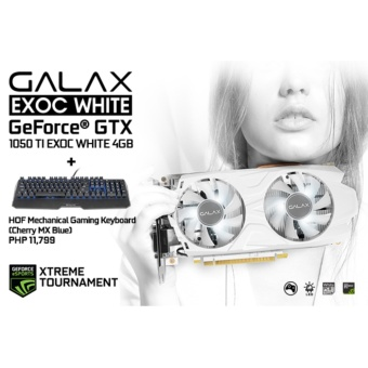 Galax GTX1050TI EXOC White 4GB DDR5 128Bit + HOF Mechanical GamingKeyboard (Cherry MX Blue)