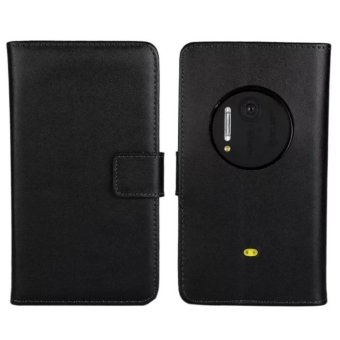 Genuine Leather Wallet Case Cover for Nokia Lumia 1020 (Black) -intl