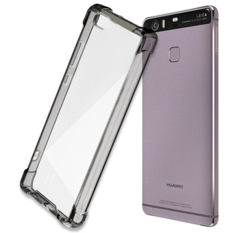 German Import Shockproof Silicone Clear Case for Huawei P8 Lite(Smoke Grey) with Free Tempered Glass (Clear)