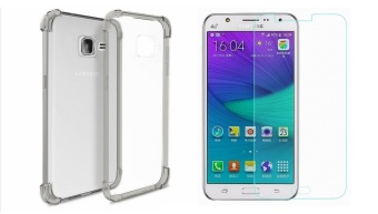 German Import Shockproof Silicone Clear Case for Samsung Galaxy J1Mini Bundled With Tempered Glass (Smoke Grey)