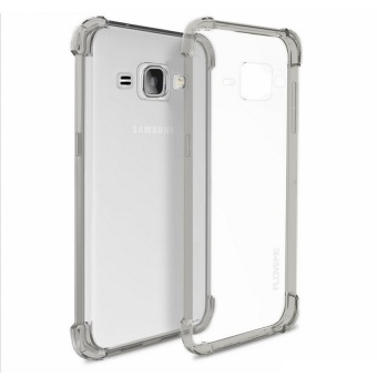 German Import Shockproof Silicone Clear Case for Samsung GalaxyJ120F (2016) (Smoke Grey) with Free Tempered Glass (Clear)