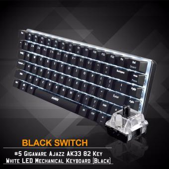 Gigaware Ajazz AK33 #5 82 Key White LED Mechanical Keyboard (Black)(Black Switch)
