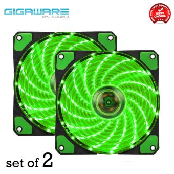 Gigaware Chassis 15 Colorful LED 12 cm Long Cooling Fan 3PIN plus 4P (Green) set of 2