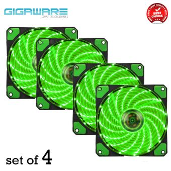 Gigaware Chassis 15 Colorful LED 12 cm Long Cooling Fan 3PIN plus 4P (Green) set of 4