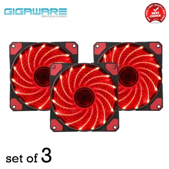 Gigaware Chassis 15 Colorful LED 12 cm Long Cooling Fan 3PIN plus 4P (Red) set of 3