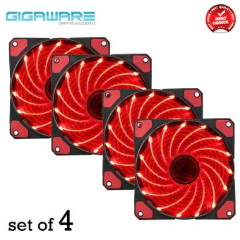 Gigaware Chassis 15 Colorful LED 12 cm Long Cooling Fan 3PIN plus 4P (Red) set of 4