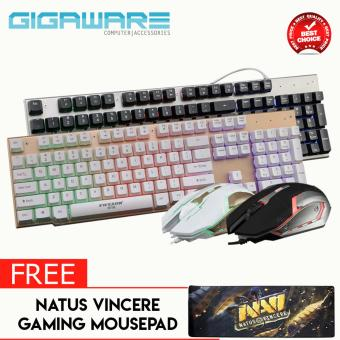 Gigaware EWEADN LK006 Metal Backlight Gaming Keyboard Mouse (Black)with FREE Natus Vincere Gaming Mousepad