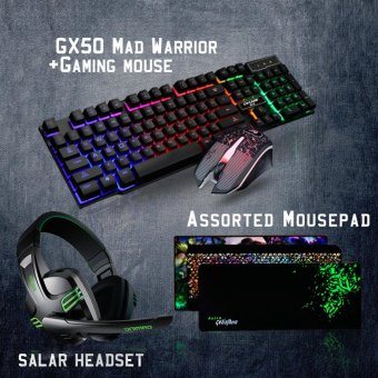 Gigaware Gaming Essentials KMX-50 Gaming Keyboard + Gaming Mouse + Salar Headset w/ Free Assorted Extended Mousepad