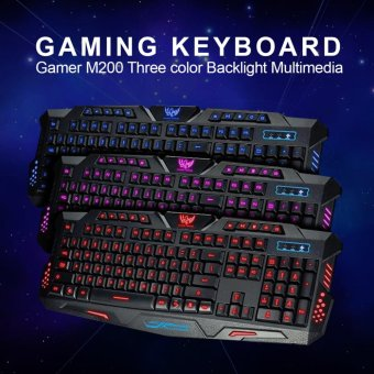 Gigaware Gaming M200 3LED RGB Ergonomic Gaming Keyboard (Black)