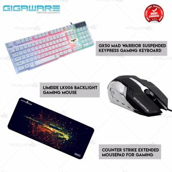 Gigaware GX50 Mad Warrior Suspended Keypress Gaming Keyboard(White) + Gigaware Limeide LK006 Backlight Gaming Mouse + CounterStrike Extended Mousepad for Gaming Price Philippines