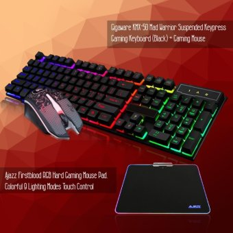 Gigaware KMX-50 Mad Warrior Gaming Keyboard & Mouse (Black) +Ajazz Firstblood Hard Gaming RGB Mousepad, Colorful 9 LightingModes Touch Control