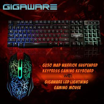 Gigaware LED Lightning Gaming Mouse with GX50 Mad Warrior SuspendedKeypress Gaming Keyboard