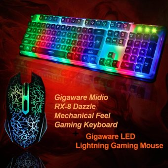 Gigaware Midio RX-8 Dazzle Mechanical Feel Gaming Keyboard withGigaware LED Lightning Gaming Mouse