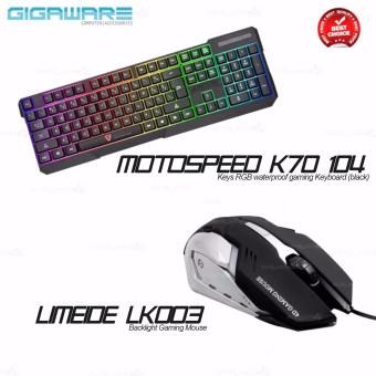 Gigaware Motospeed K70 104 Keys RGB Waterproof Gaming Keyboard(Black) + Gigaware Limeide LK006 Backlight Gaming Mouse