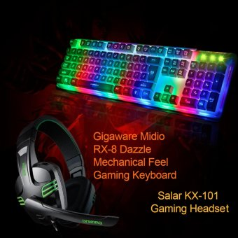 Gigaware Salar KX-101 Gaming Headset with Gigaware Midio RX-8Dazzle Mechanical Feel Gaming Keyboard