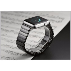 Glossy Ceramic Watchband Watch Band Replacement Strap Link Bracelet for Apple Watch iwatch 42mm (Black