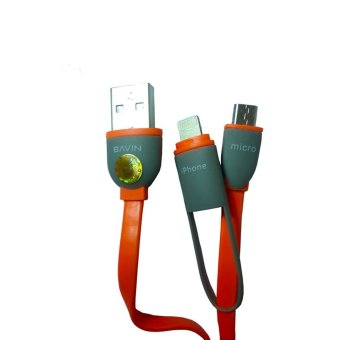 GM&A Bavin 2-in-1 USB Charger and Data Cable for iPhone/iPad Galaxy (Orange)