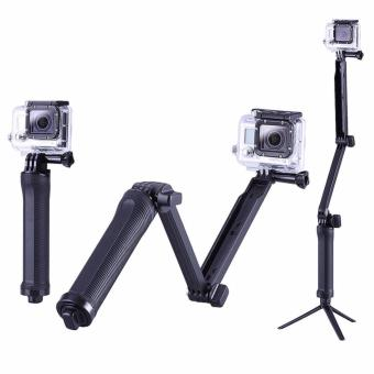 GoPro Accessories GO117 20cm Collapsible 3 Way Monopod Mount CameraGrip Extension Arm Tripod Stand for Gopro Hero 4 2 3 3+ 2 1 SJ4000Action Camera (Black) - 2