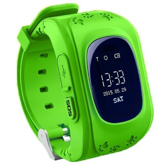 GPS Tracker Kids Wrist Sim Watch Phone Anti-lost SOS (Green)