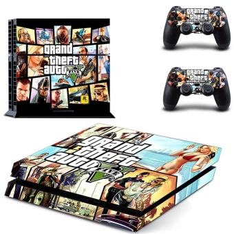 Grand Theft Auto V GTA PS4 Decal Skin Sticker For Sony Playstation 4 Console protection film +2Pcs Controllers Protective Cover DPTM1818 - intl