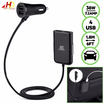 GZLZZ Road RockStar 4-Port Passenger Car Charger 36W 7.2Amp(Black)
