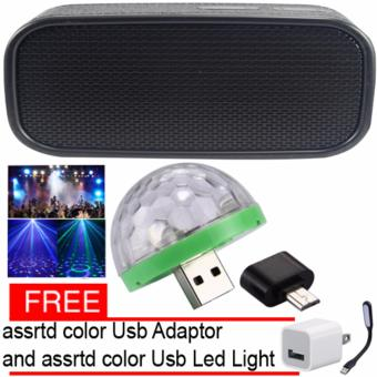 H-944 Leather Style Design Bluetooth Wireless Speaker (Black) LEDSmall Magic Ball Disco Party USB Colorful Neon Lights 4W with FreeAssorted adaptor and Led light