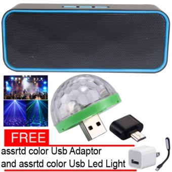 H-955 Bluetooth Wireless Speaker (Black/Blue) LED Small Magic BallDisco Party USB Colorful Neon Lights 4W with Free Assorted USBadaptor /USb Led light