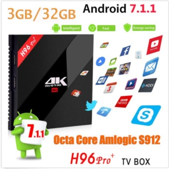 H96pro+ and I8 BACKLIT Smart Android TV Box Android 7.1 AmlogicS912 Octa Core UHD 4K 3GB / 32GB Mini PC 1000LAN 2.4G & 5.0GWiFi DLNA Miracast H.265 Media Player - intl - 2