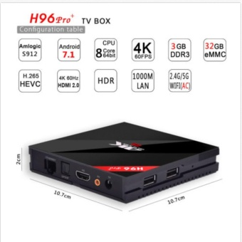 H96pro+ and I8 BACKLIT Smart Android TV Box Android 7.1 AmlogicS912 Octa Core UHD 4K 3GB / 32GB Mini PC 1000LAN 2.4G & 5.0GWiFi DLNA Miracast H.265 Media Player - intl - 5
