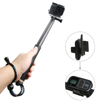 Handheld Aluminium Extendable Pole Monopod With Screw and Strap andRemote Control Buckle For GoPro HERO5 /4 /3+ /3 /2 /1, Xiaoyi SportCameras, Adjustment Length: 36-110cm (Gold) - intl