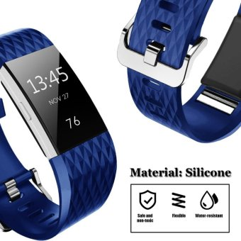 Hanlesi Fitbit Charge 2 Band, Diamond Pattern Soft TPU Durable Adjustable Replacement Sport Strap Band for Fitbit Charge 2 Smart watch Heart Rate Fitness Wristband - intl - 2